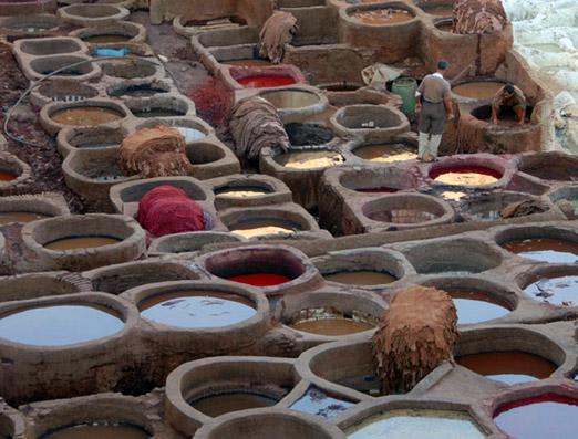 Uno de los famosos cueros curtidos de Fez